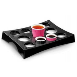 Bandeja portavasos cep en poliestireno con capacidad para 11 vasos color negra.