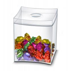 Caja para caramelos cep en poliestireno con tapa desmontable color transparente.