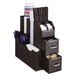 Organizador archivo 2000 en polipropileno varios compartimentos y accesorios para la hora del cafe en color negro.