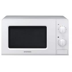 Microondas daewoo con capacidad de 20 litros y 5 niveles de potencia en color blanco.