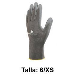 Guantes de protección deltaplus 100% de poliéster / palma pu, talla 6/xs, color gris.