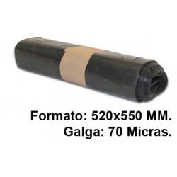 Bolsa de basura jn en formato 520x550 mm. galga de 70 micras, 20 litros, color negro, rollo de 20 uds.