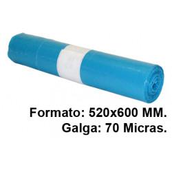 Bolsa de basura jn en formato 520x600 mm. galga de 70 micras, 20 litros, color azul, rollo de 20 uds.
