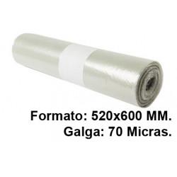 Bolsa de basura jn en formato 520x600 mm. galga de 70 micras, 20 litros, color transparente, rollo de 20 uds.