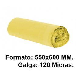Bolsa de basura con cierre fácil jn en formato 550X600 mm. galga de 120 micras, 23 litros, color amarillo, rollo de 15 uds.