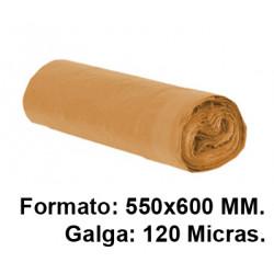 Bolsa de basura con cierre fácil jn en formato 550X600 mm. galga de 120 micras, 23 litros, color naranja, rollo de 15 uds.