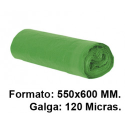 Bolsa de basura con cierre fácil jn en formato 550X600 mm. galga de 120 micras, 23 litros, color verde, rollo de 15 uds.