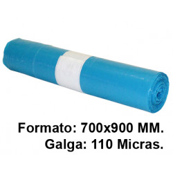 Bolsa de basura jn en formato 700x900 mm. galga de 110 micras, 50 litros, color azul, rollo de 10 uds.