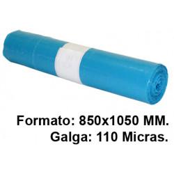 Bolsa de basura jn en formato 850x1050 mm. galga de 110 micras, 100 litros, color azul, rollo de 10 uds.