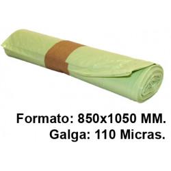 Bolsa de basura jn en formato 850x1050 mm. galga de 110 micras, 100 litros, color amarillo, rollo de 10 uds.
