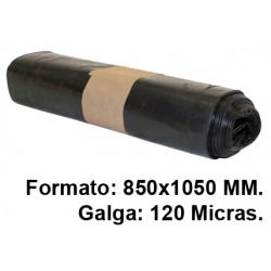 Bolsa de basura jn en formato 850x1050 mm. galga de 120 micras, 100 litros, color negro, rollo de 10 uds.