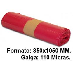 Bolsa de basura jn en formato 850x1050 mm. galga de 110 micras, 100 litros, color rojo, rollo de 10 uds.
