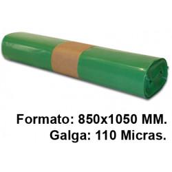 Bolsa de basura jn en formato 850x1050 mm. galga de 110 micras, 100 litros, color verde, rollo de 10 uds.