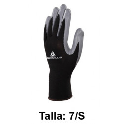 Guantes de protección deltaplus 100% tejido de poliéster / palma de nitrilo, talla 7/s, color negro/gris.
