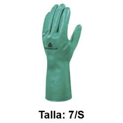 Guantes de protección deltaplus 100% de nitrilo / flocado 100% de algodón, talla 7/s, color verde.