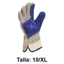 Guantes de protección deltaplus docker serraje con refuerzo, talla 10/xl, color gris/azul.