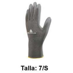 Guantes de protección deltaplus 100% de poliéster / palma pu, talla 7/s, color gris.