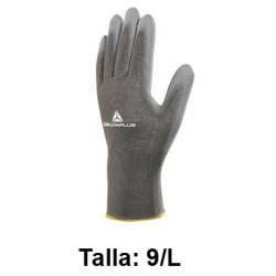 Guantes de protección deltaplus 100% de poliéster / palma pu, talla 9/l, color gris.