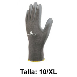 Guantes de protección deltaplus 100% de poliéster / palma pu, talla 10/xl, color gris.