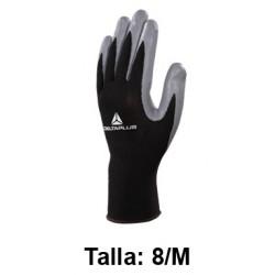 Guantes de protección deltaplus 100% tejido de poliéster / palma de nitrilo, talla 8/m, color negro/gris.