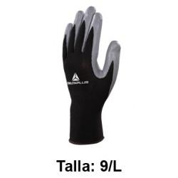 Guantes de protección deltaplus 100% tejido de poliéster / palma de nitrilo, talla 9/l, color negro/gris.