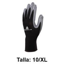 Guantes de protección deltaplus 100% tejido de poliéster / palma de nitrilo, talla 10/xl, color negro/gris.