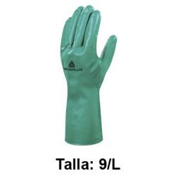 Guantes de protección deltaplus 100% de nitrilo / flocado 100% de algodón, talla 9/l, color verde.