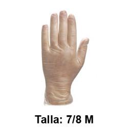 Guantes desechables deltaplus 100% de vinilo empolvados en almidón de maiz, talla 7/8 m, color transparente, caja de 100 uds.
