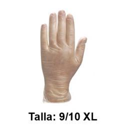 Guantes desechables deltaplus 100% de vinilo empolvados en almidón de maiz, talla 9/10 xl, color transparente, caja de 100 uds.