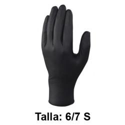 Guantes desechables deltaplus 100% de nitrilo, talla 6/7s, color negro, caja de 100 uds.