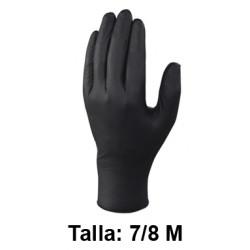 Guantes desechables deltaplus 100% de nitrilo, talla 7/8m, color negro, caja de 100 uds.