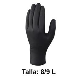 Guantes desechables deltaplus 100% de nitrilo, talla 8/9l, color negro, caja de 100 uds.