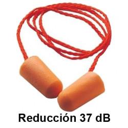 Tapones para los oidos 3m desechable de espuma moldeable reducción de 37 dB, en caja de 100 unidades.