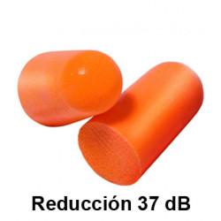 Tapones para los oidos 3m desechable de espuma moldeable reducción de 37 dB, en caja de 5 pares.