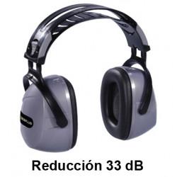 Casco antiruido deltaplus reduccíon de 33 dB, en color gris/negro.