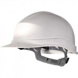 Casco de protección deltaplus fabricado en polietileno especial para obra y trabajos eléctricos de baja tensión color blanco.