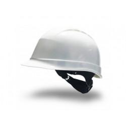 Casco de proteccion faru fabricado en polietileno con ruleta y atalaje de 6 puntos color blanco.