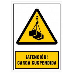 Pictograma de senalización en pvc syssa ¡Atención! carga suspendida en formato 245x345 mm.