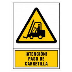 Pictograma de senalización en pvc syssa ¡Atención! paso de carretilla en formato 245x345 mm.