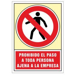 Pictograma de senalización en pvc syssa prohibido el paso a toda persona ajena a la empresa en formato 245x345 mm.