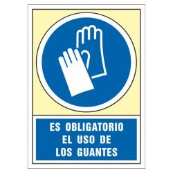 Pictograma de senalización en pvc syssa es obligatorio el uso de los guantes en formato 245x345 mm.
