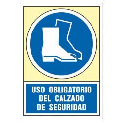 Pictograma de senalización en pvc syssa uso obligatorio del calzado de seguridad en formato 245x345 mm.