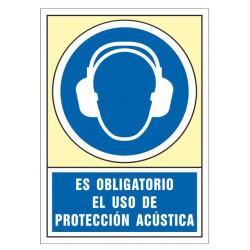 Pictograma de senalización en pvc syssa es obligatorio el uso de protección acústica en formato 245x345 mm.
