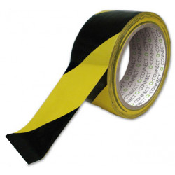 Cinta adhesiva de seguridad q-connect de 20 mts. x 48 mm. color amarillo / negro.