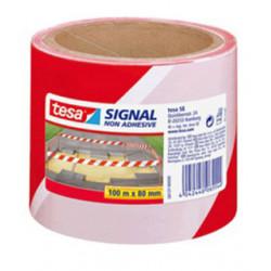 Cinta de balizamiento no adhesiva tesa en polipropileno de 100 mts. x 80 mm. color rojo / blanco.