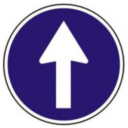 Pictograma de señalización en acero galvanizado syssa sentido obligatorio en formato 500 mm.
