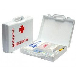 Botiquín polipropileno con material para primeros auxilios forma de maletín 270x230x70 mm.