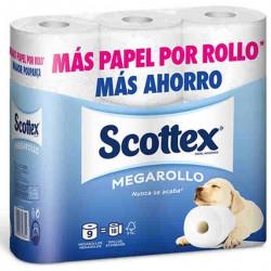 Papel higiénico doméstico scottex megarollo, 2 capas, color blanco.