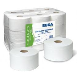 Papel higiénico industrial buga 100% celulosa reciclada, 2 capas, 90 mm. x 130 mts. color blanco.