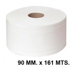 Papel higiénico industrial jumbo q-connect 100% pura celulosa, 2 capas, 90 mm. x 161 mts. color blanco.
